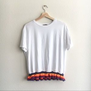 Zara Tee White Colorful Ruffle Hem